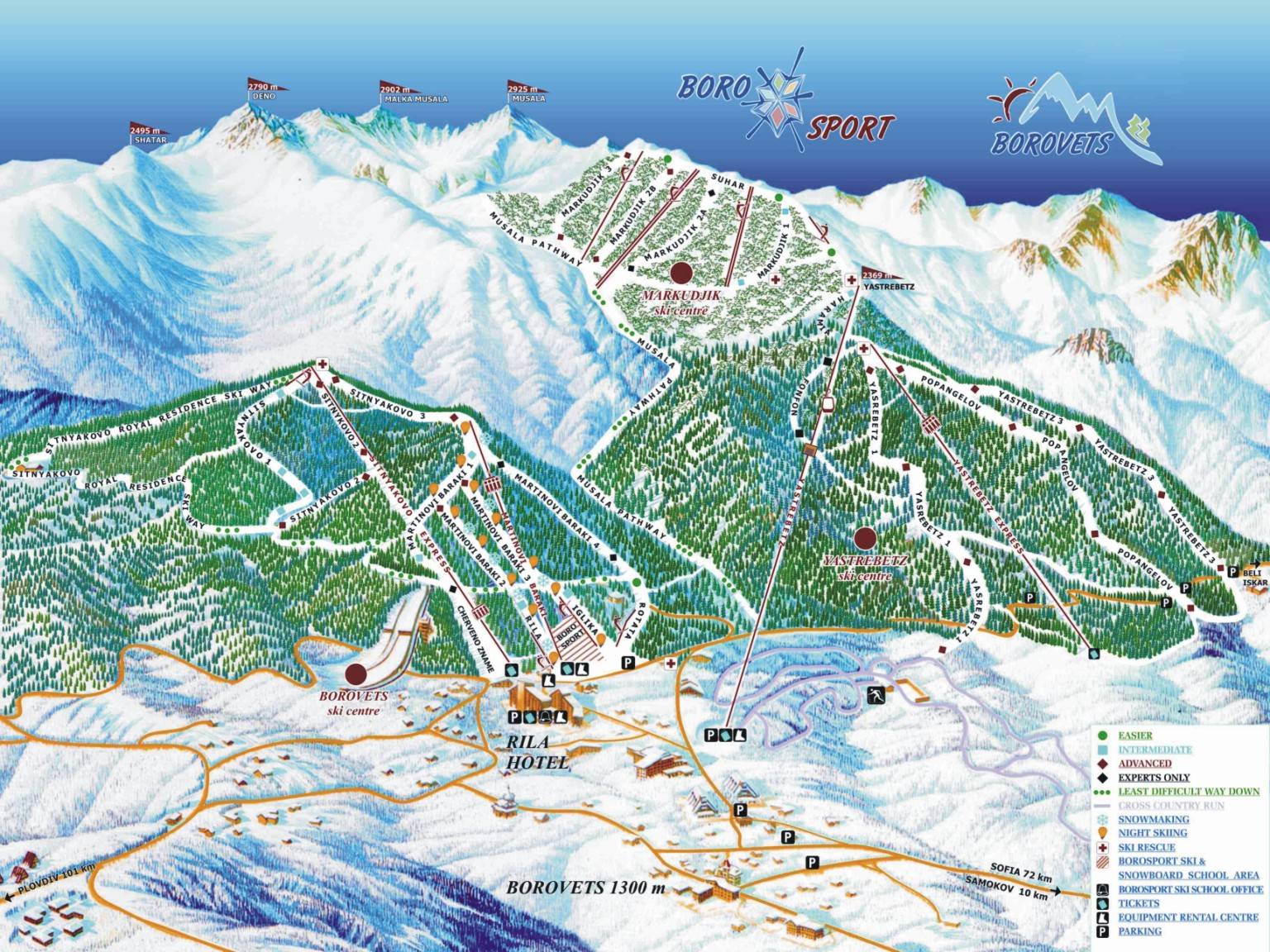 piste map Borovets