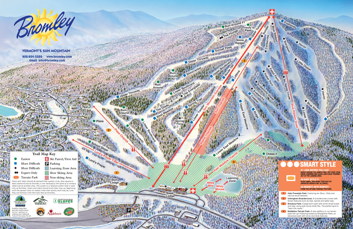 Bromley Mountain piste map