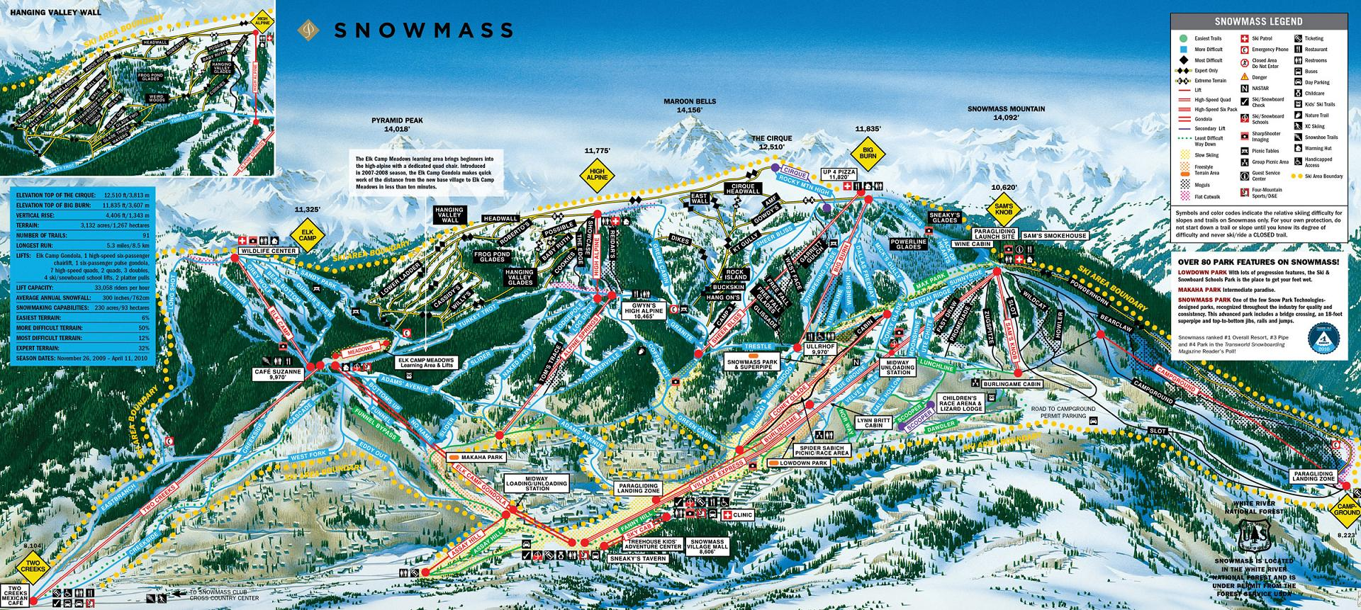 piste map Aspen and Snowmass