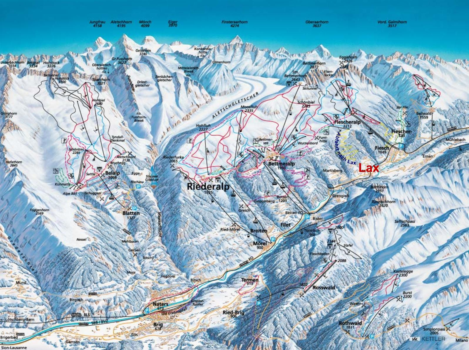 Oberwald Switzerland  city images : Fiesch Routes main terrain diagram for local mountain area CLICK ...