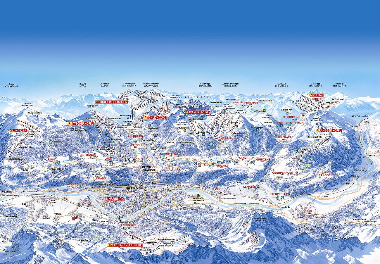 Igls Austria  city pictures gallery : Igls Routes main terrain diagram for local mountain area CLICK TO ...