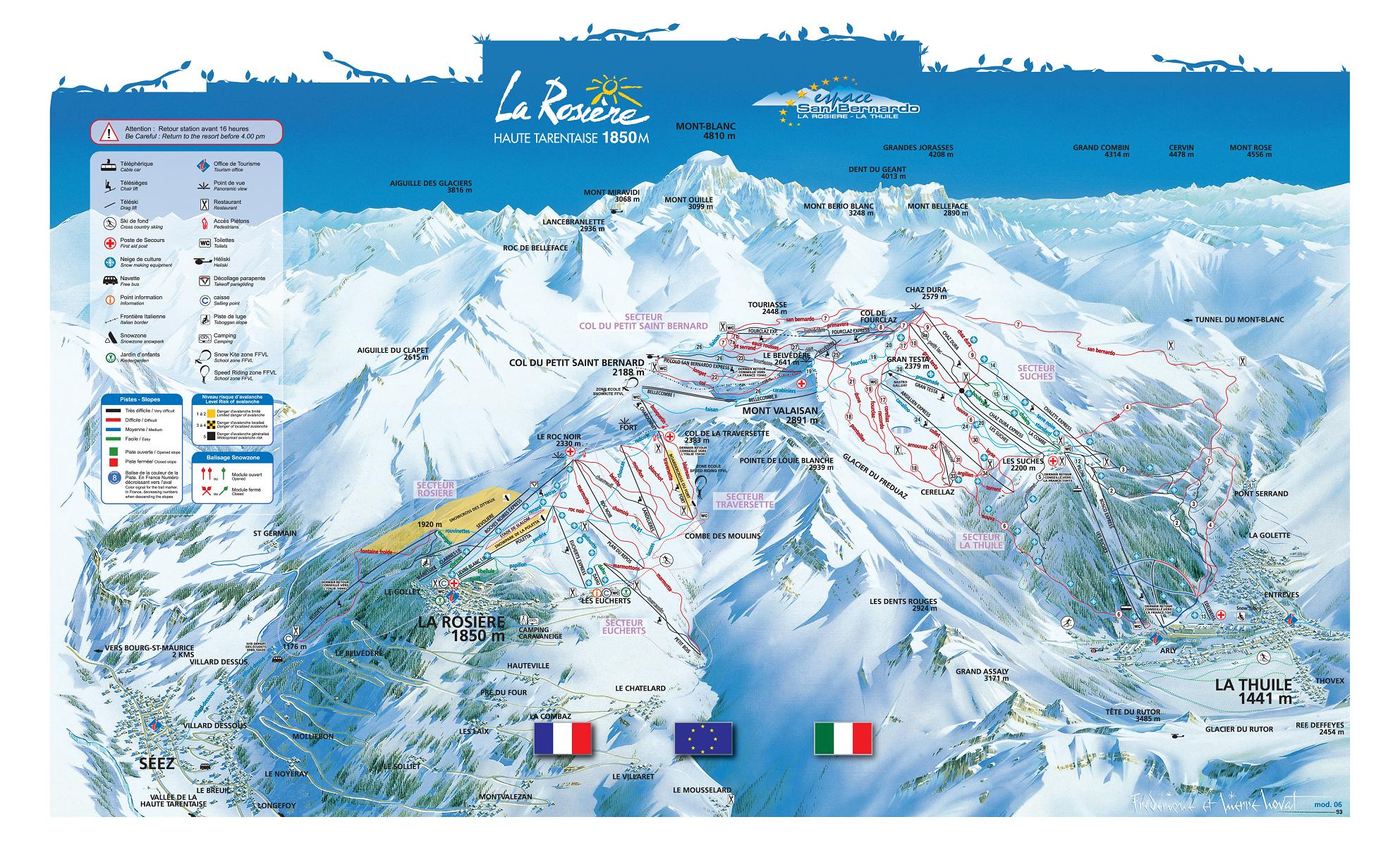 La Rosiere piste map