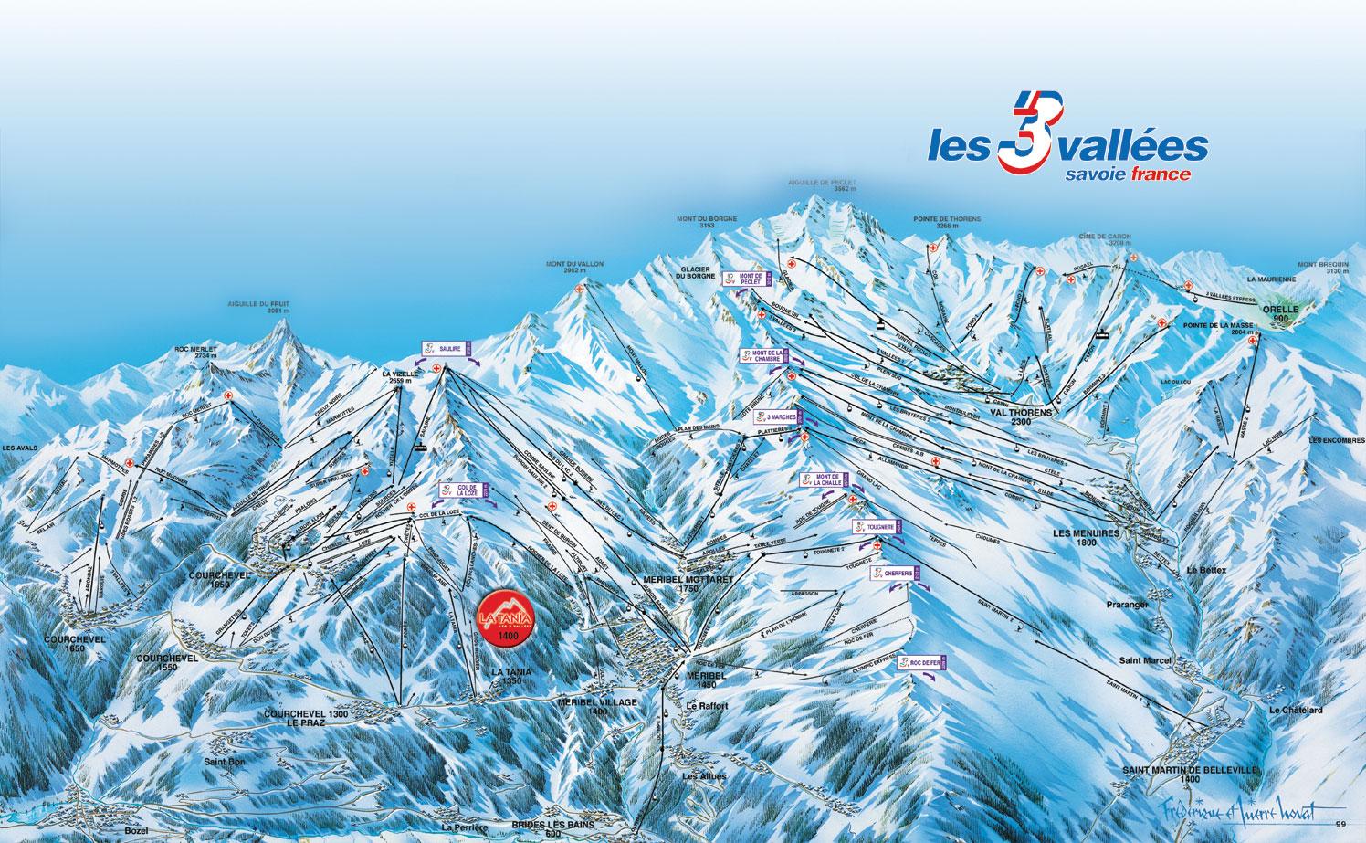 piste map La Tania