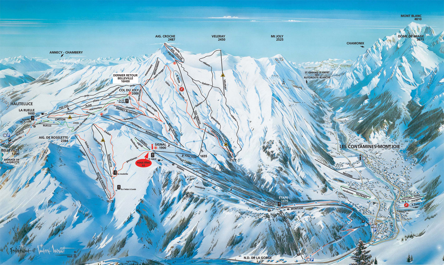 Les Contamines - Montjoie piste map