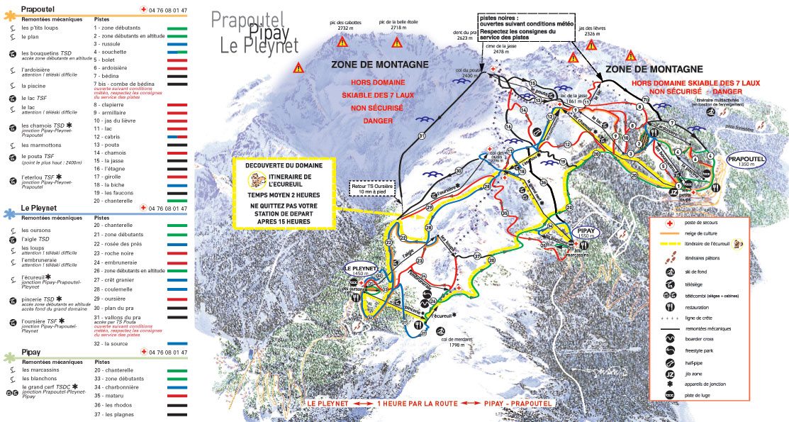 Les Sept Laux piste map