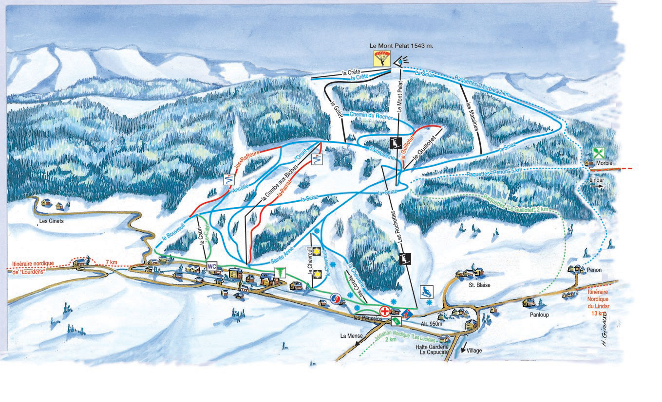 Les Aillons piste map