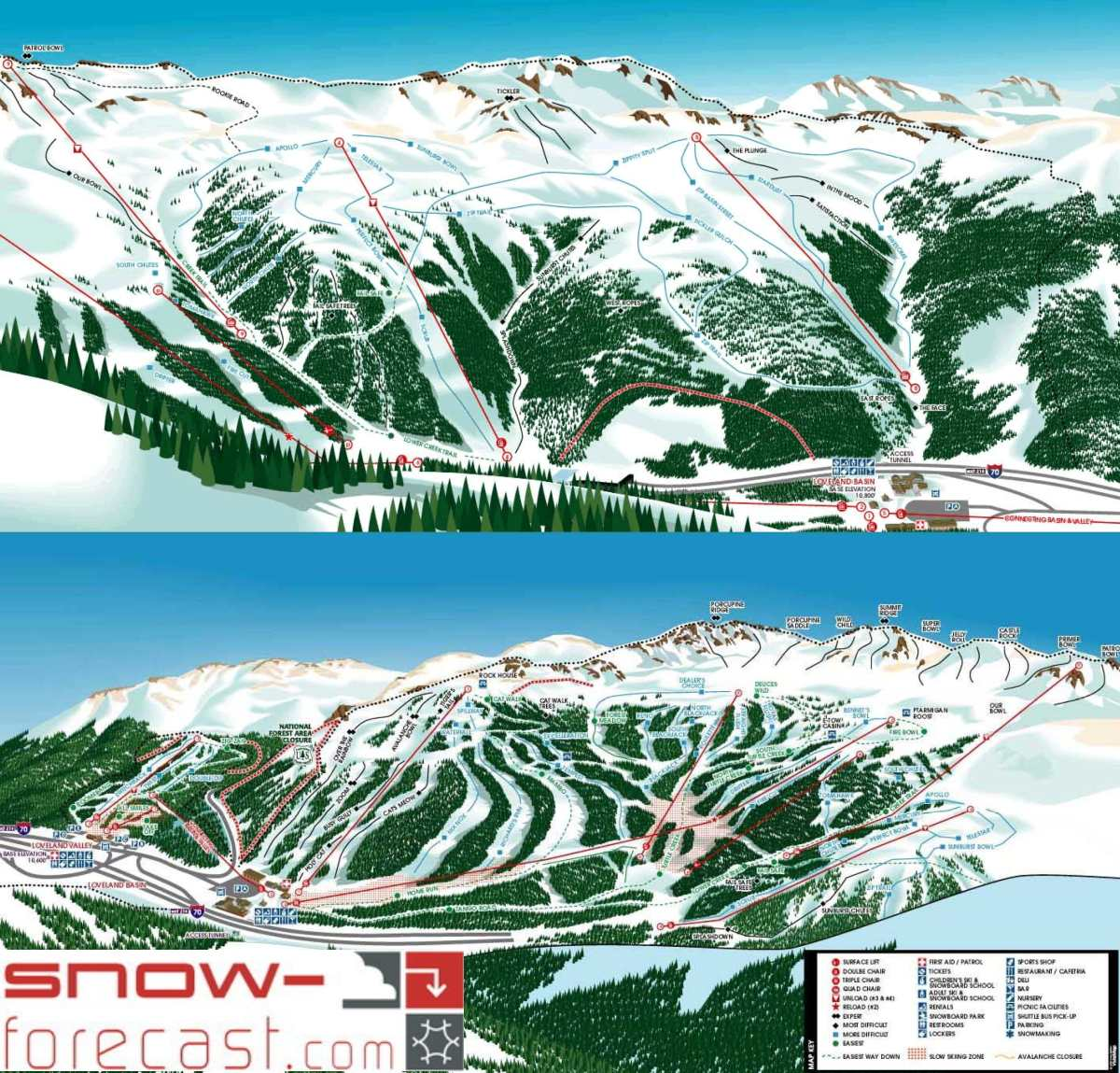 Loveland piste map