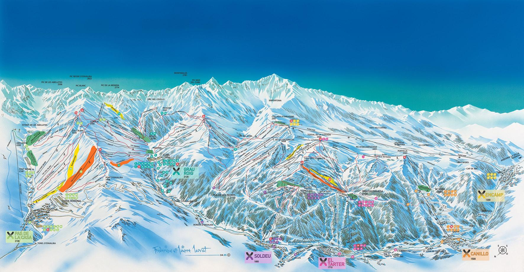 piste map Soldeu and El Tarter