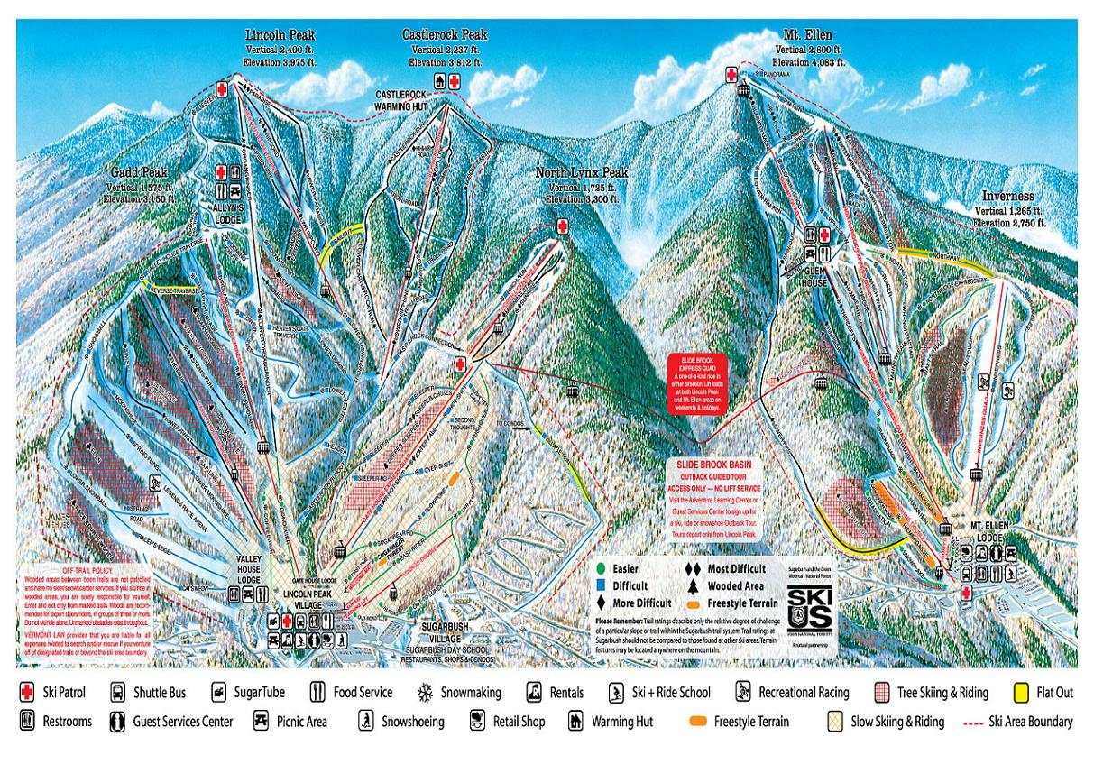 Sugarbush piste map