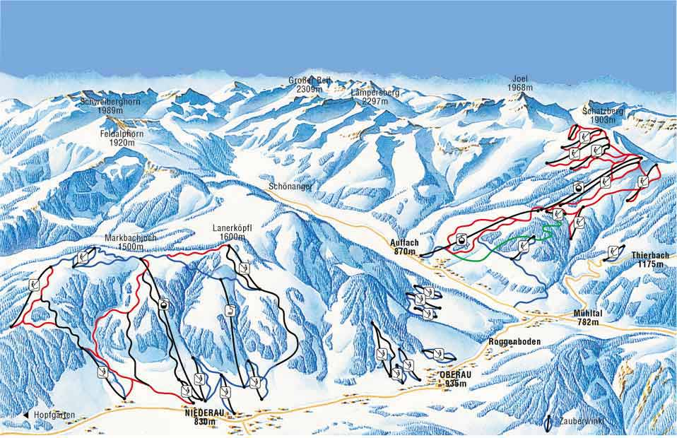 Niederau piste map
