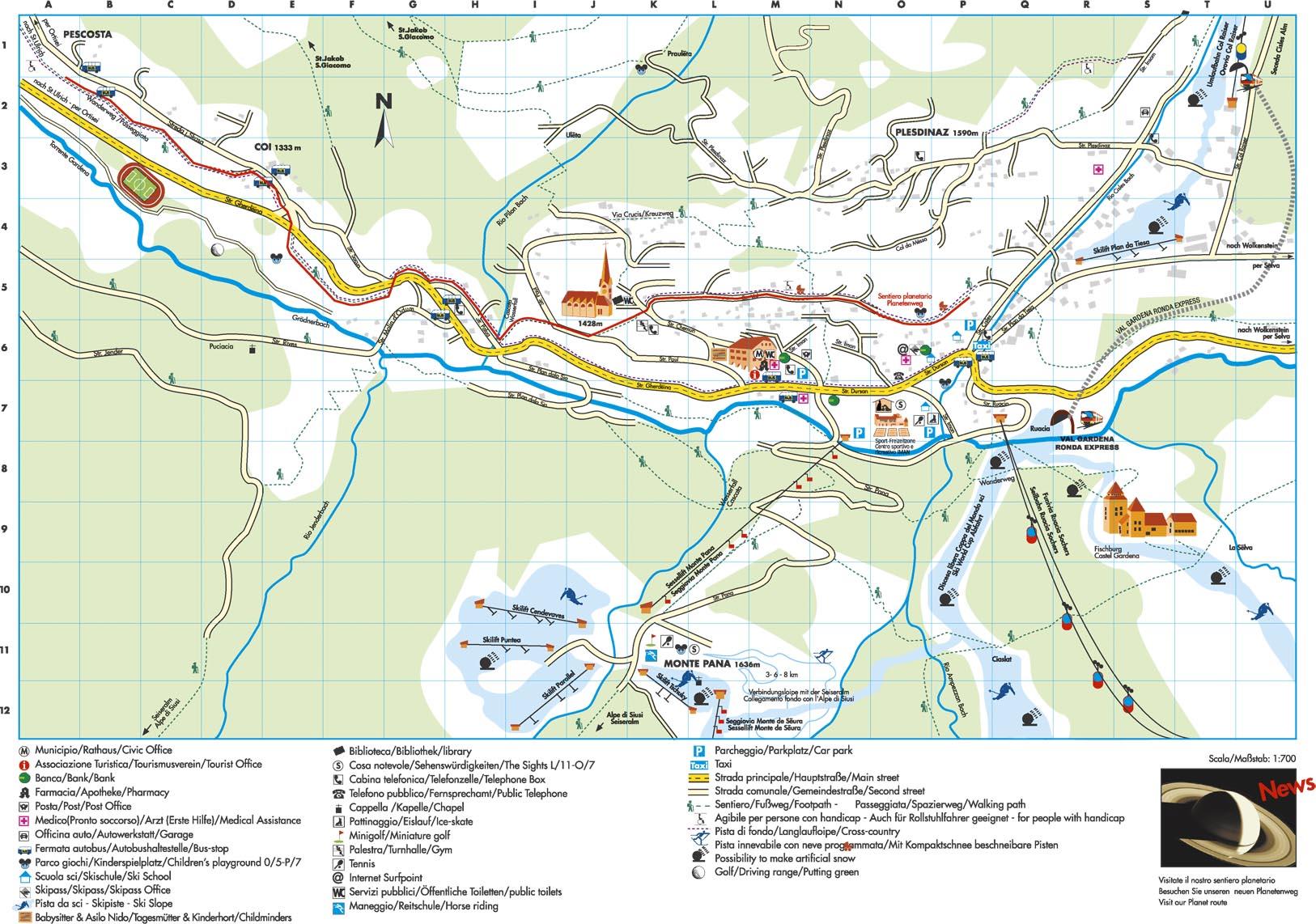 Maps Of St Cristina Ski Resort In Italy Sno