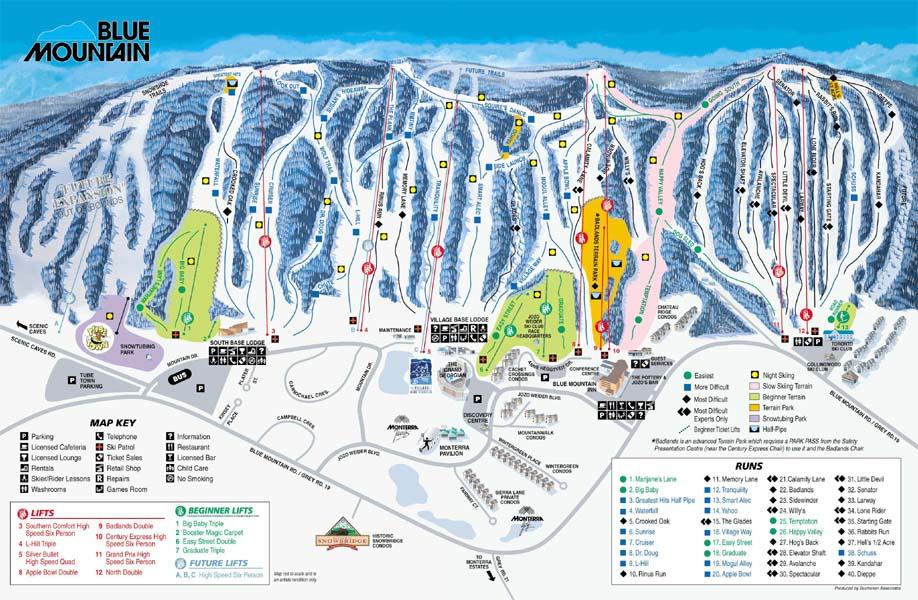 Blue Mountain Piste Map   trails   marked ski runs   SNO