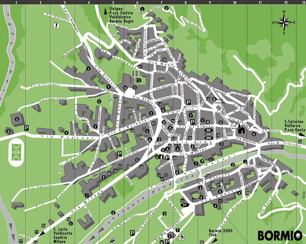 Maps of Bormio ski resort in Italy SNO