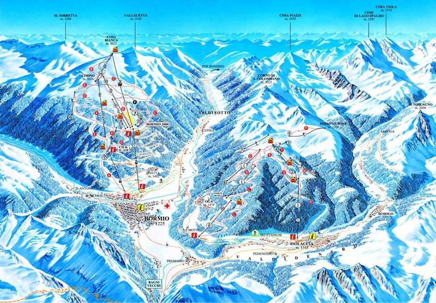 Bormio Italy  city pictures gallery : Bormio Routes main terrain diagram for local mountain area CLICK ...