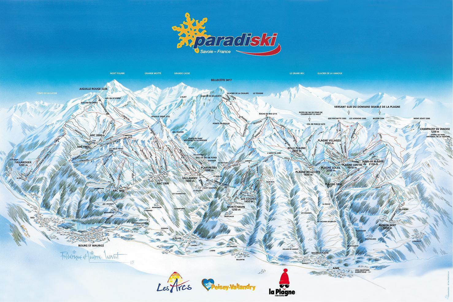 Champagny en Vanoise Ski Champagny en Vanoise Piste Map
