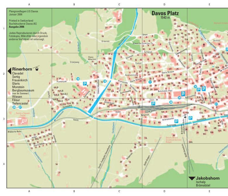 Maps of Davos ski resort in Switzerland SNO