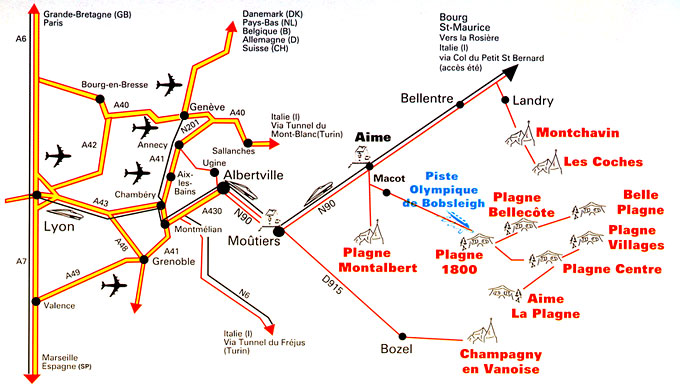 Maps of Belle Plagne ski resort in France SNO
