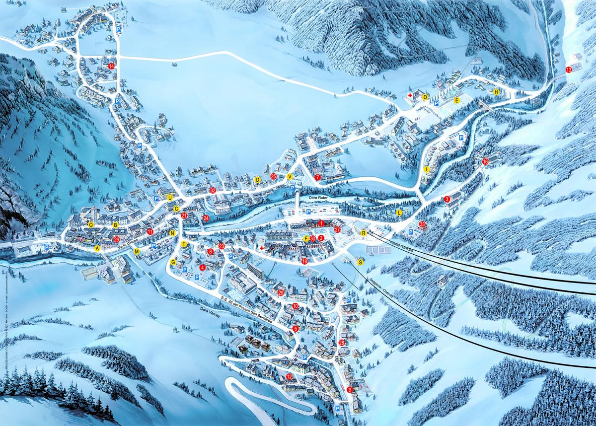 Maps of La Thuile ski resort in Italy SNO