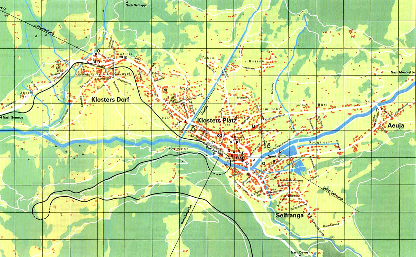 Maps of Klosters ski resort in Switzerland SNO