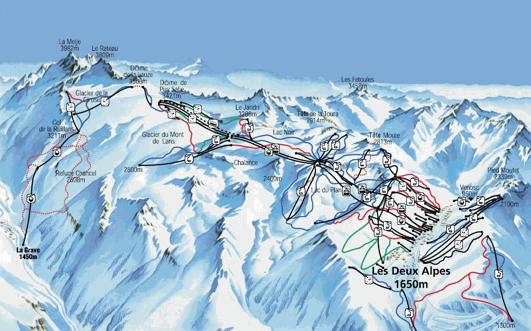 piste map Les Deux Alpes