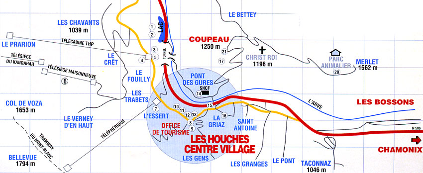 Maps of Les Houches ski resort in France SNO