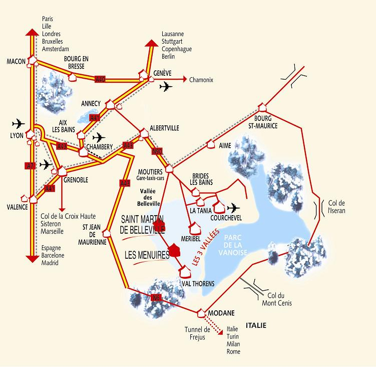 Maps of Les Menuires ski resort in France SNO