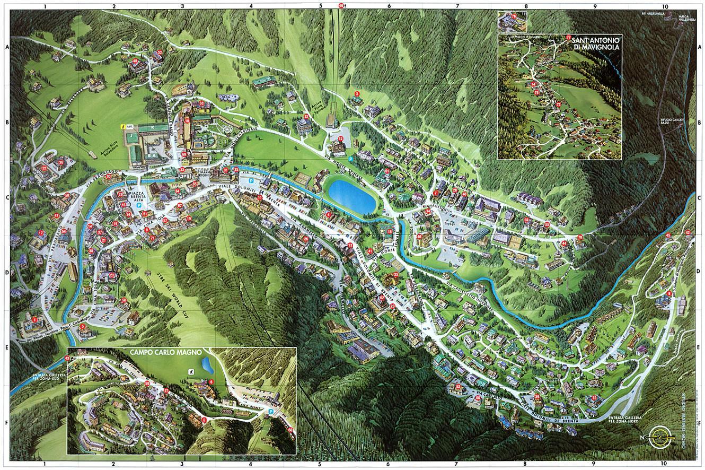 Maps of Madonna di Campiglio ski resort in Italy SNO
