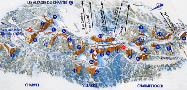 Maps of Les Arcs ski resort in France SNO