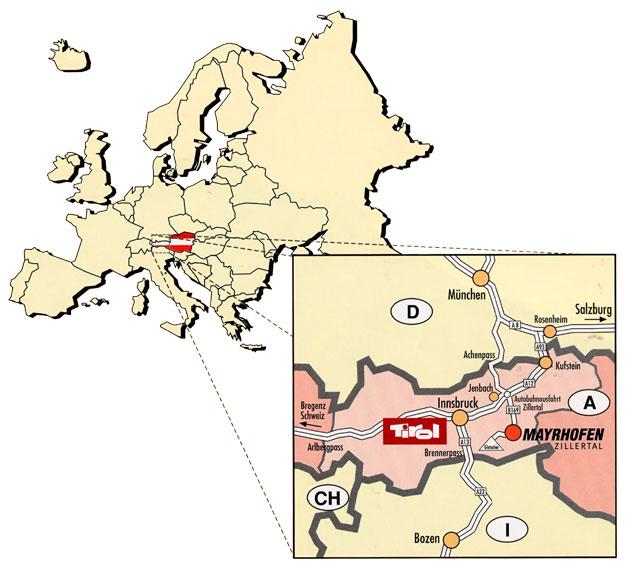 Maps of Mayrhofen ski resort in Austria SNO