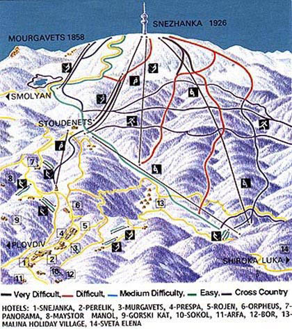 piste map Pamporovo