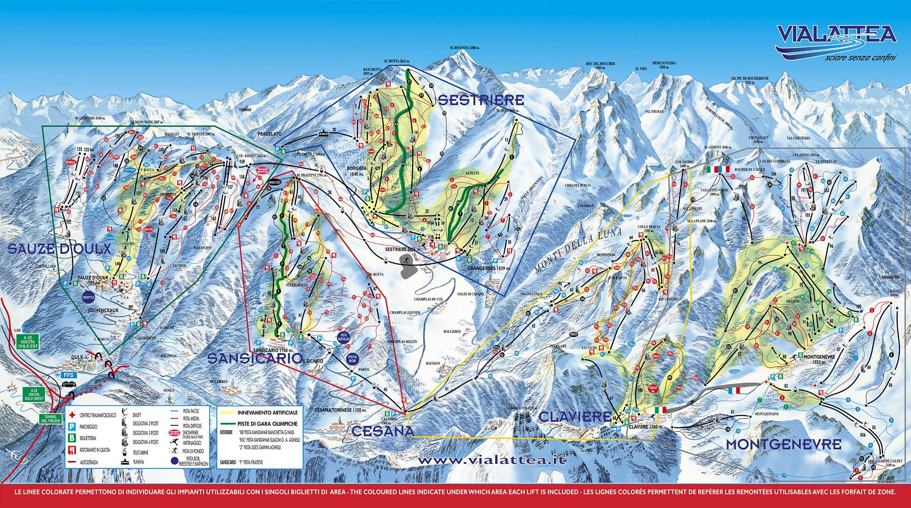 piste map Sestriere