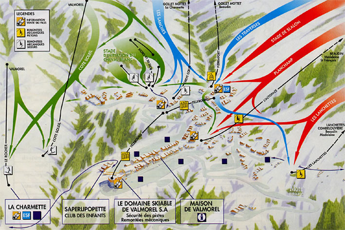 Maps of Valmorel ski resort in France SNO