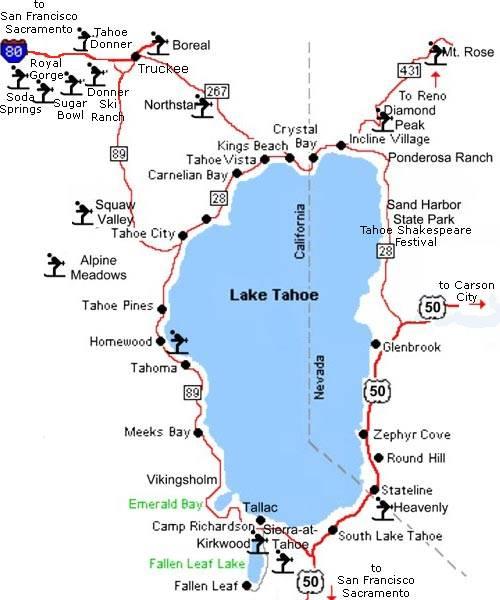 Maps Of Lake Tahoe Ski Resort In Usa Sno