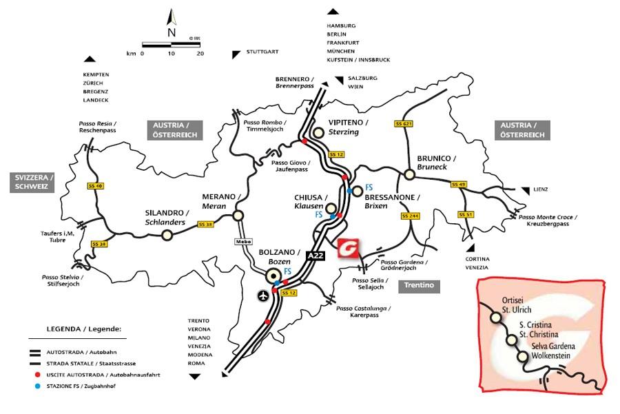 Maps of Ortisei ski resort in Italy SNO